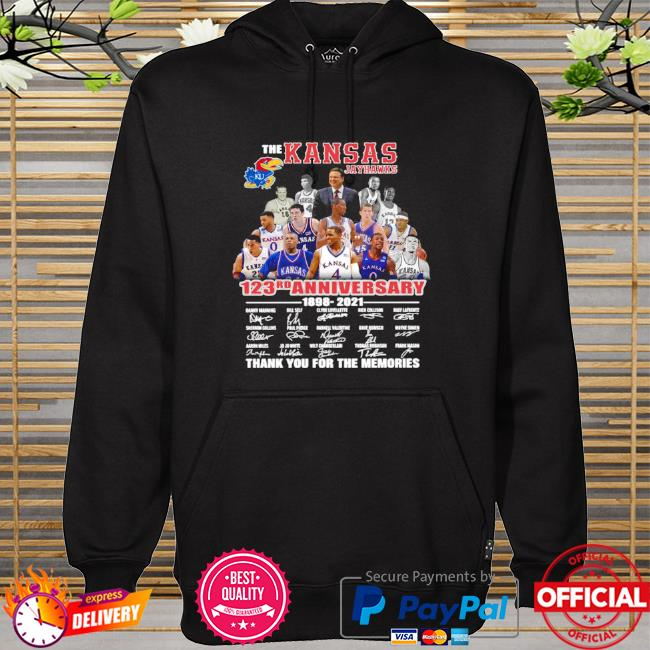 Official The Kansas jayhawks 123rd anniversary 1989 2021 thank you for the memories signatures hoodie