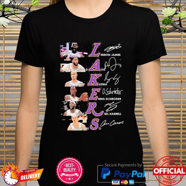 Los angeles lakers basketball team signatures shirt