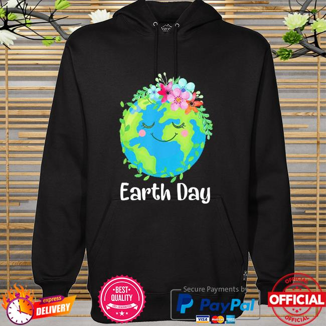 Happy earth day cute earth with floral earth day 2021 hoodie