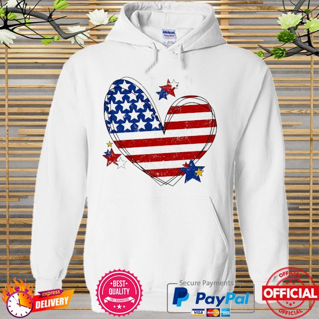 American flag heart matching family july 4th Hoodie white
