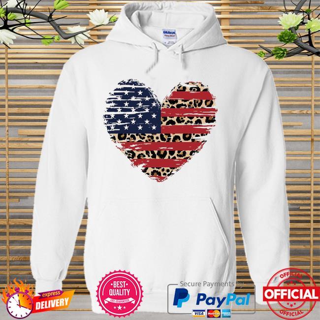 Heart American flag Hoodie white
