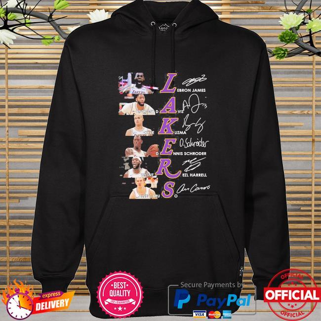 Los angeles lakers basketball team signatures hoodie