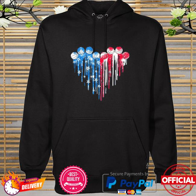 Basketball Heart American flag hoodie
