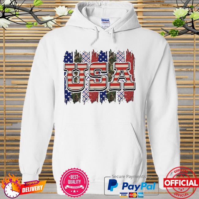Camo american flag Hoodie white