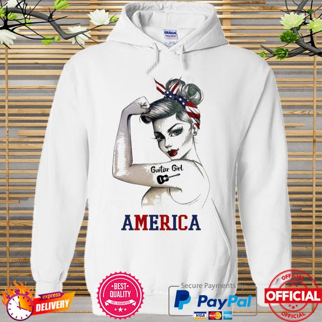 Guitar girl American flag Hoodie white