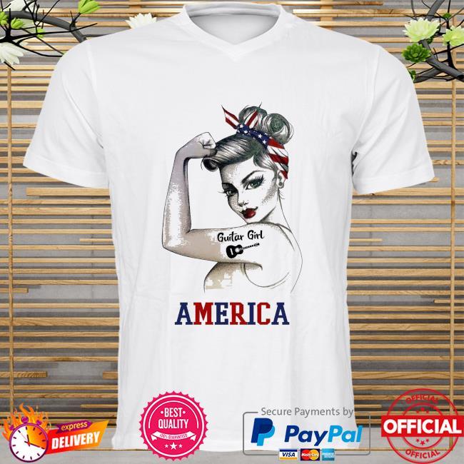 Guitar girl American flag shirt
