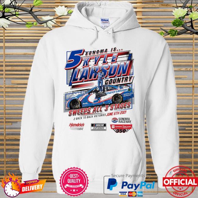 Kyle Larson Checkered Flag 2021 Toyota Save Mart 350 Race Win Hoodie white
