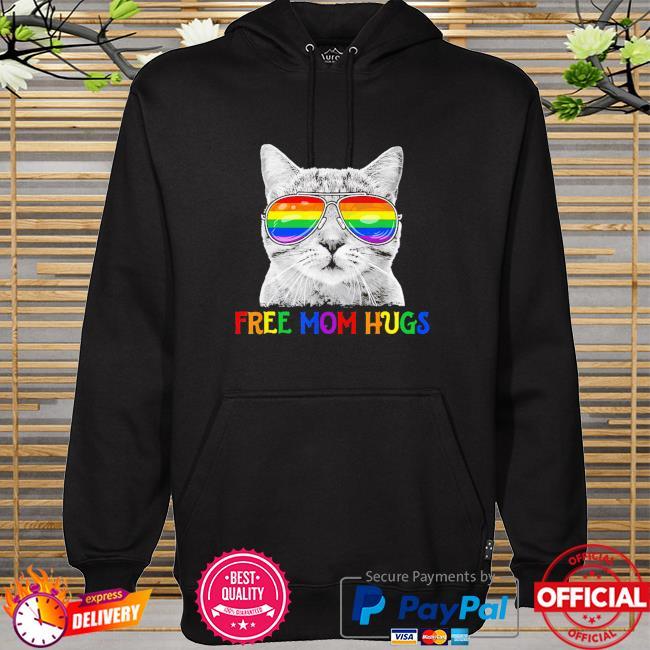 LGBT free mom hugs pride proud ally cat rainbow flag pride 2021 hoodie