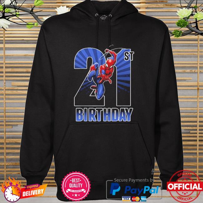 Marvel spider man swinging 21st birthday graphic hoodie