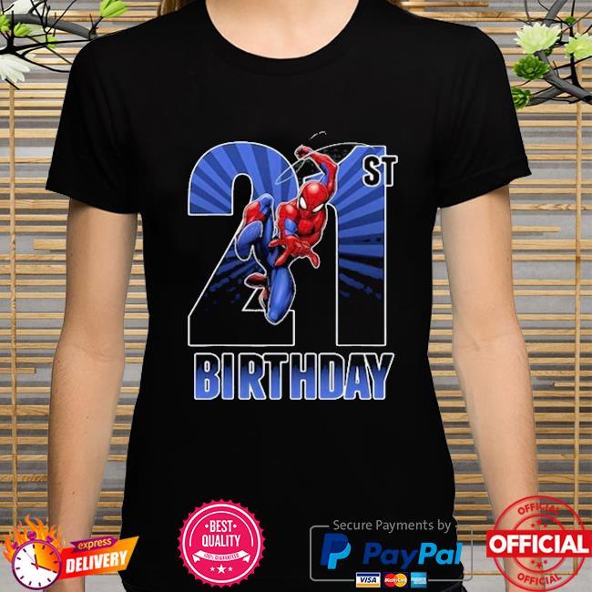 Marvel spider man swinging 21st birthday graphic shirt