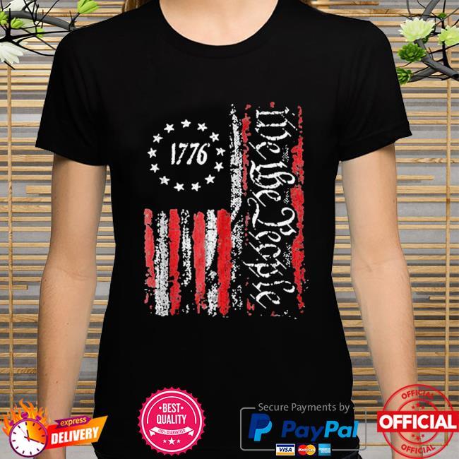 Vintage old American flag patriotic 1776 we the people shirt