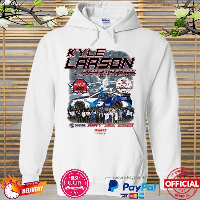 Kyle Larson Checkered Flag 2021 Coca-Cola 600 Race Win Shirt Hoodie white