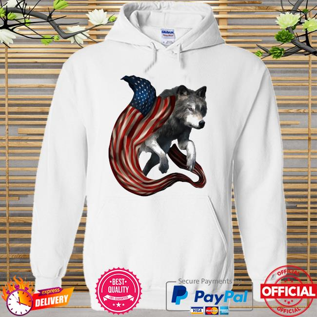 Wolf Cool And Freedom Wolf Lovers American Flag Hoodie white