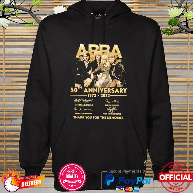 Abba 50th anniversary 1972 2022 thank you for the memories signatures hoodie