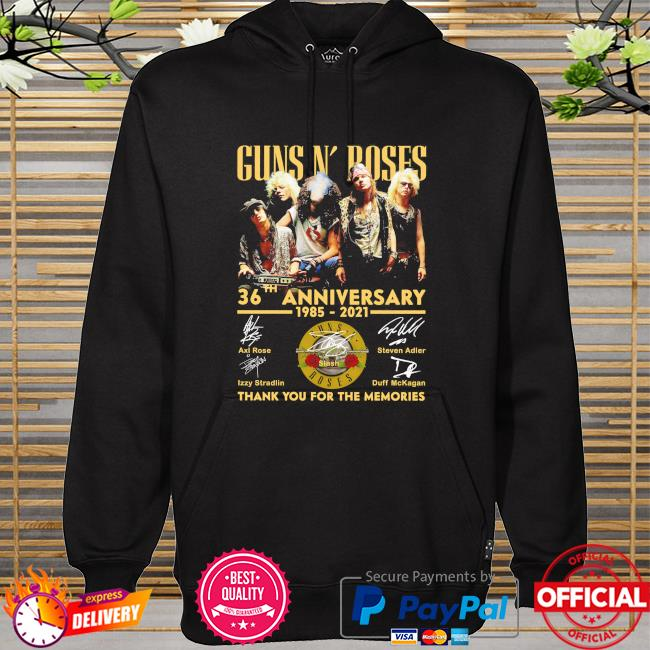 Guns N' Roses 36th anniversary 1985 2021 thank you for the memories signatures hoodie