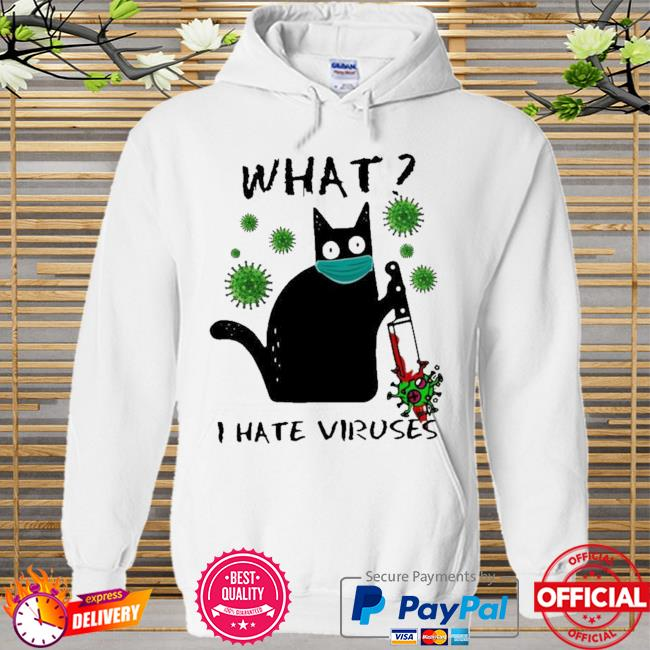 Michael Myers Black Cat what I hate Viruses Hoodie white