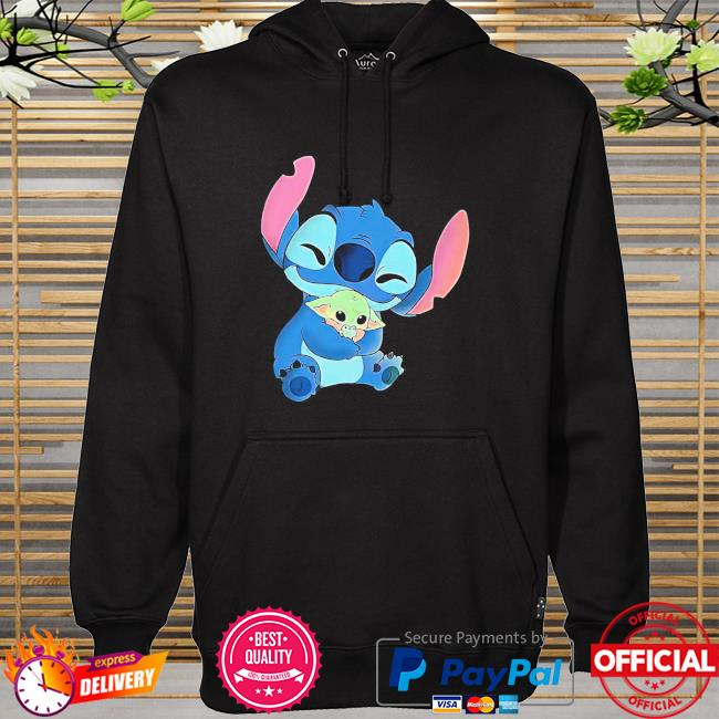 Official Baby Stitch Hug Baby Yoda Shirt hoodie