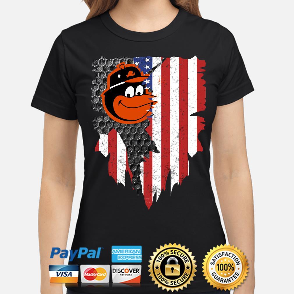 Baltimore Orioles Inside American Flag Shirt ladies-shirt