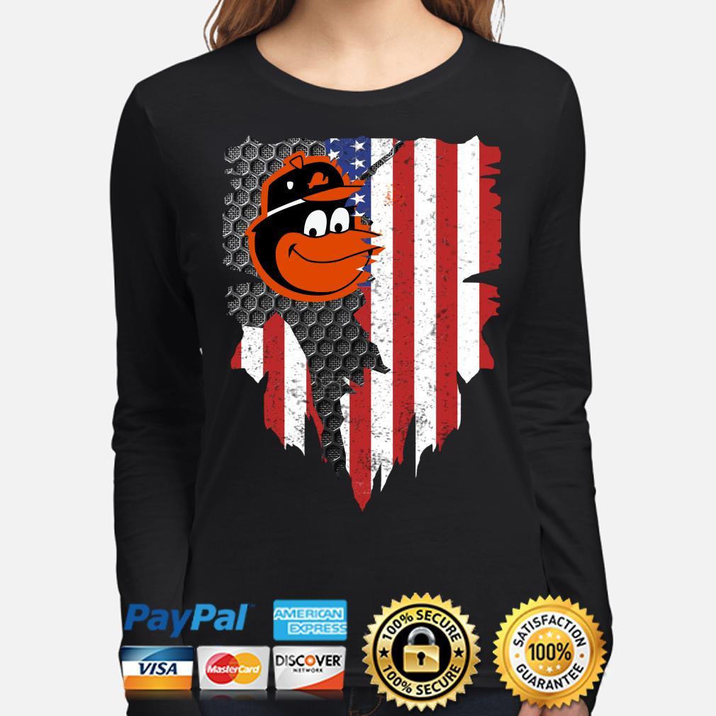 Baltimore Orioles Inside American Flag Shirt long-sleeve