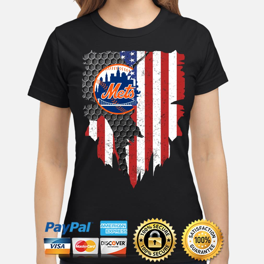 New York Mets Inside American Flag Shirt ladies-shirt