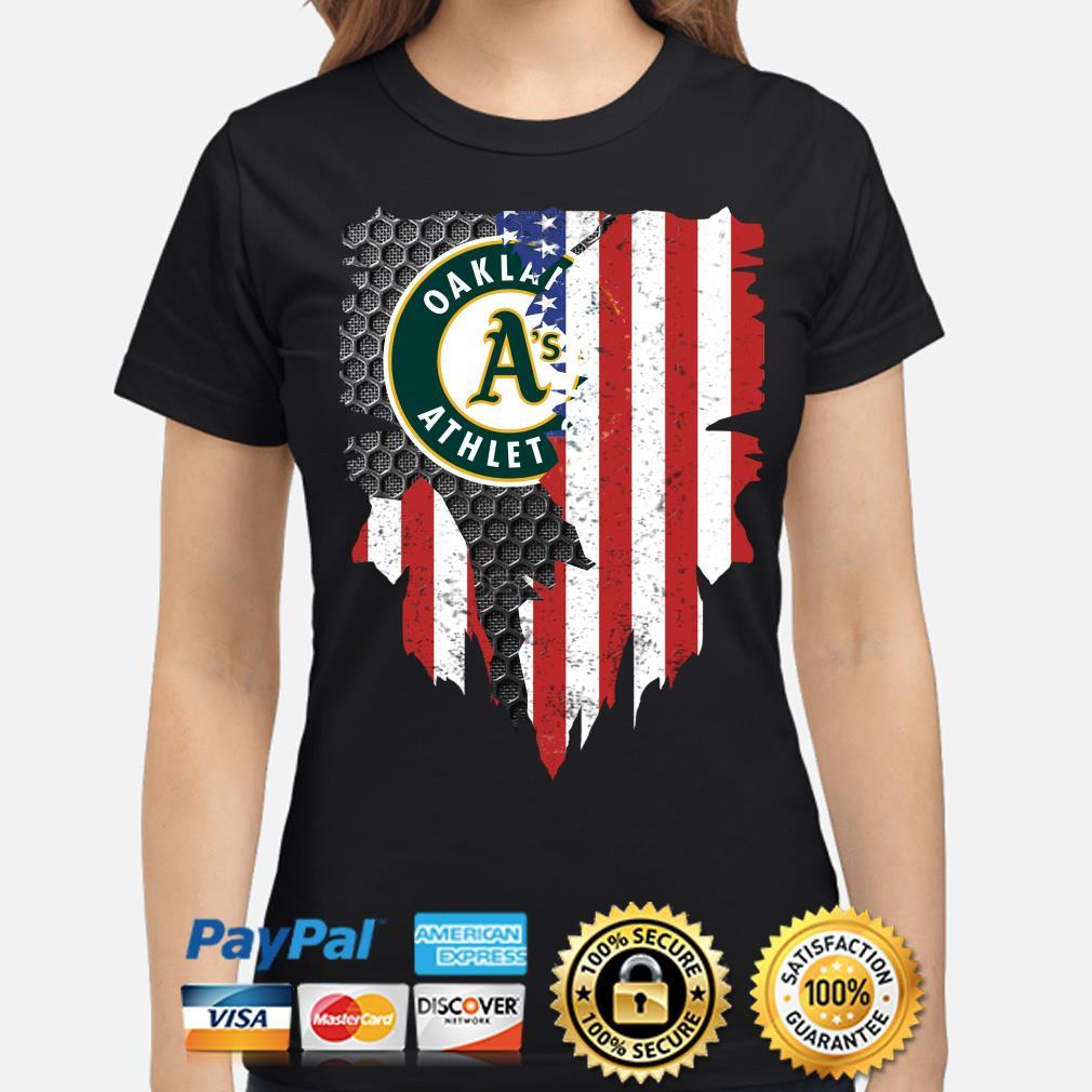 Oakland Athletics Inside American Flag Shirt ladies-shirt