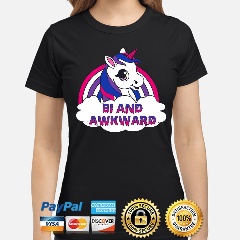 LGBT Unicorn Bi and Awkward s ladies-shirt