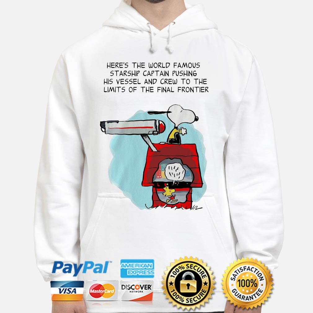 Snoopy Star Trek here's the world famous starship captain pushing his vessel s hoodie