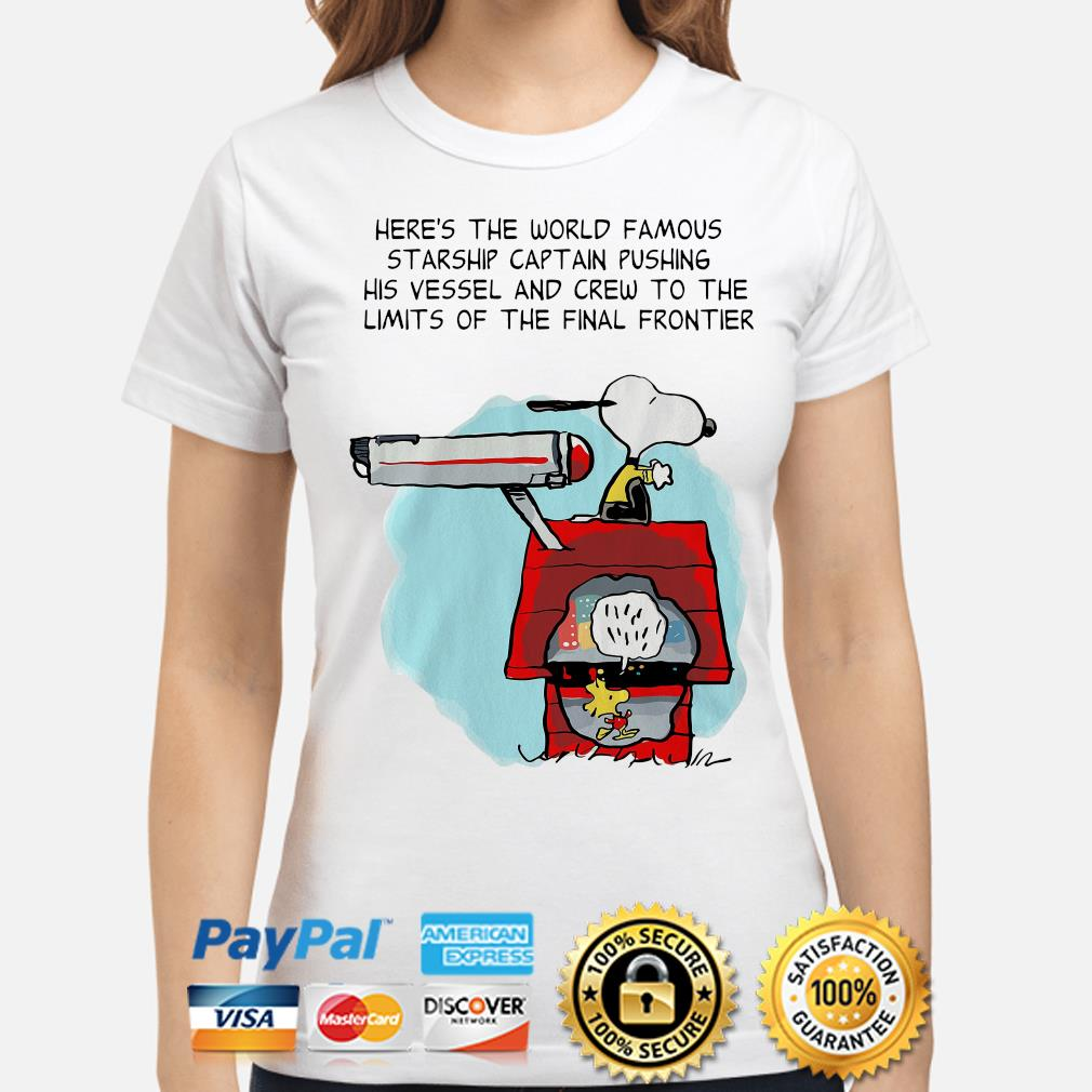 Snoopy Star Trek here's the world famous starship captain pushing his vessel s ladies-shirt