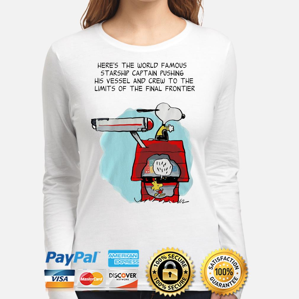 Snoopy Star Trek here's the world famous starship captain pushing his vessel s long-sleeve