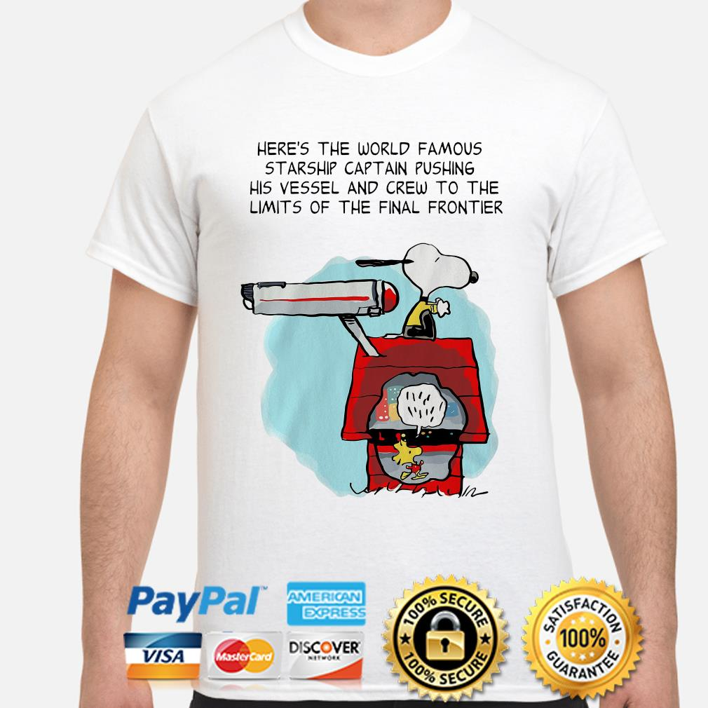Snoopy Star Trek here's the world famous starship captain pushing his vessel shirt