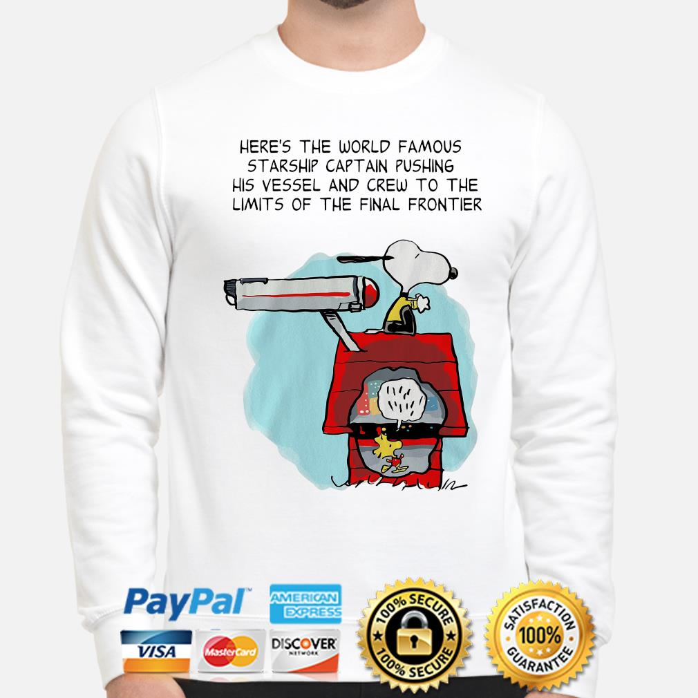 Snoopy Star Trek here's the world famous starship captain pushing his vessel s sweater