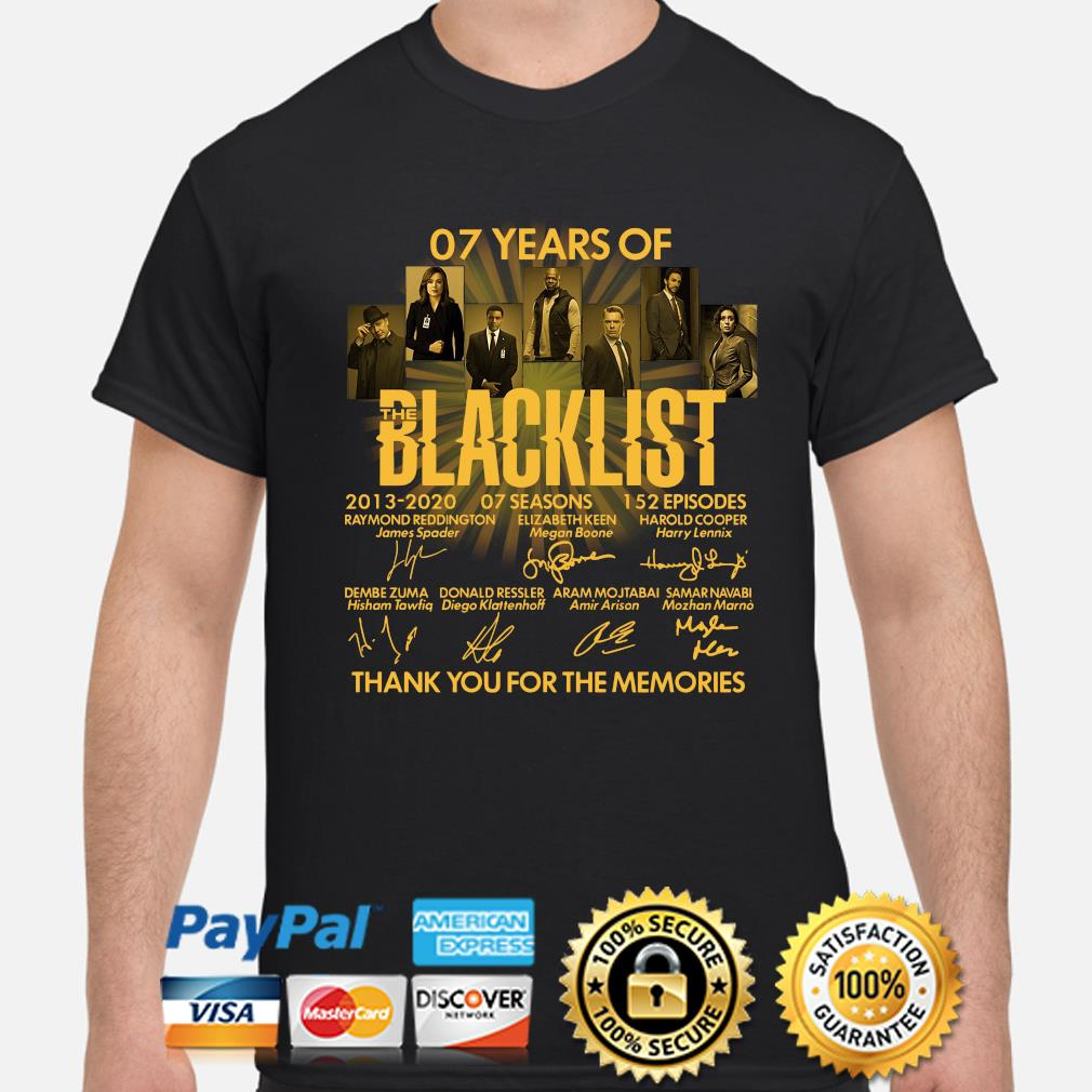 07 years of Blacklist thank you for the memories signatures shirt