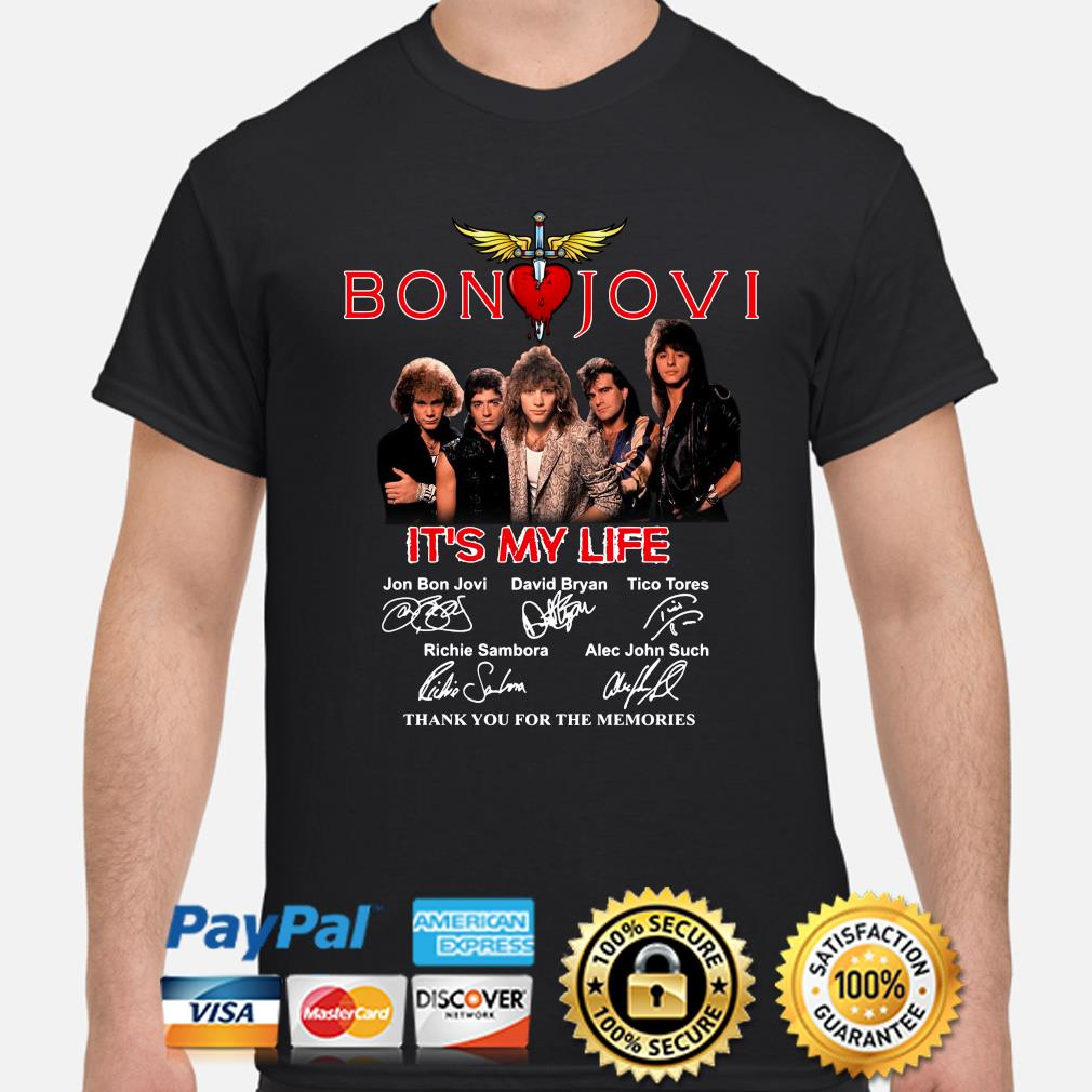 Bon Jovi It's My Life thank you for the memories signature shirt