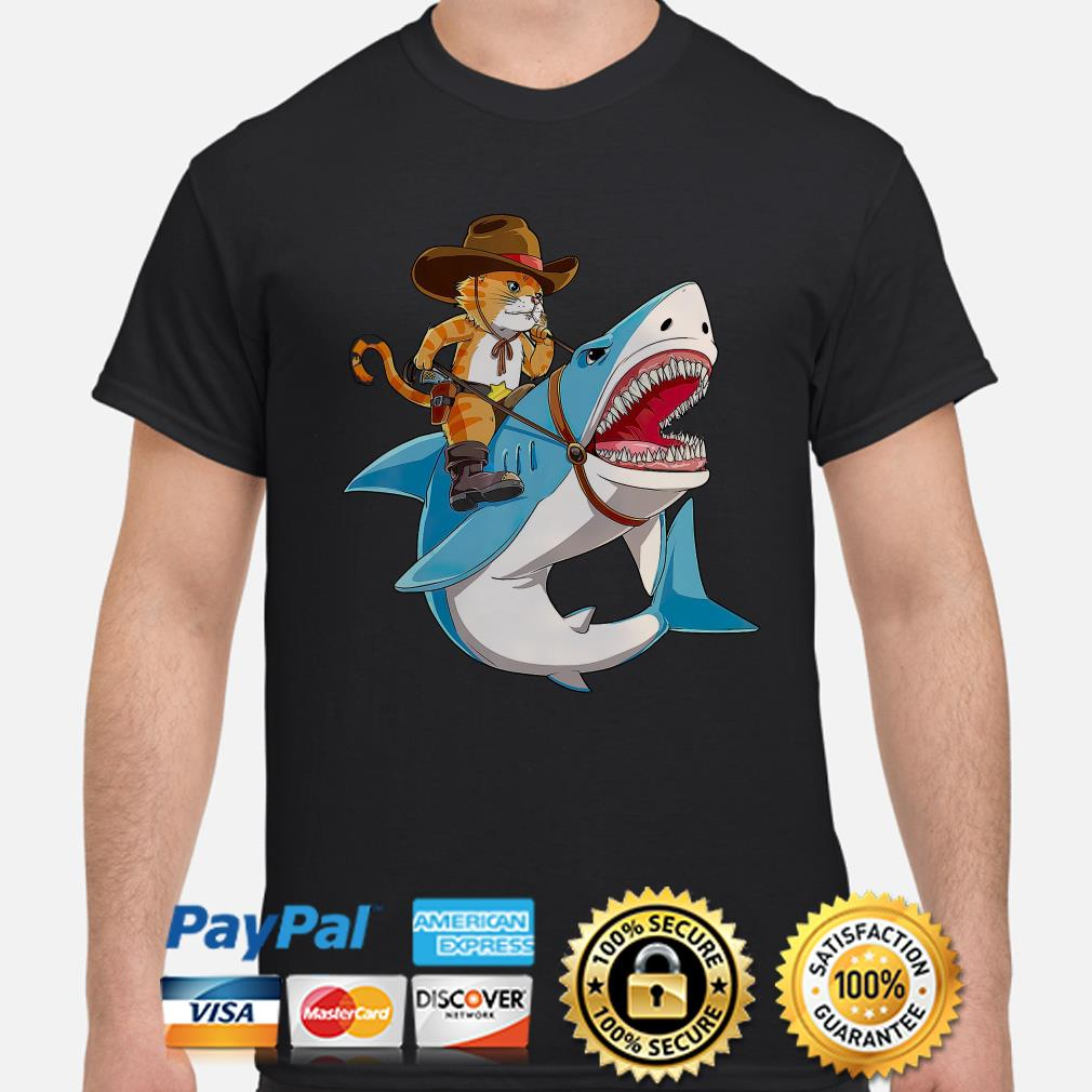 Cowboy cat riding shark shirt