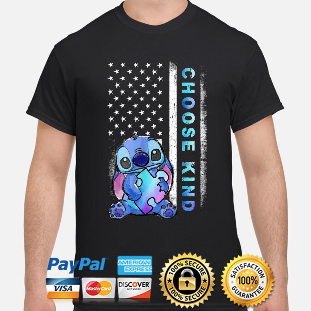 Stitch hug Autism Choose kind American flag shirt