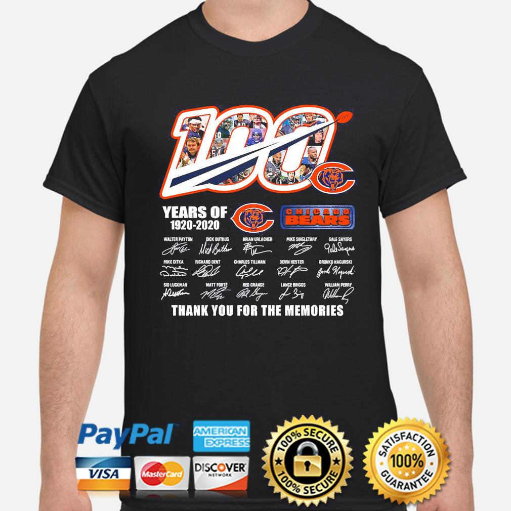 100 Years of Chicago Bears signature thanks you for the memories shirt